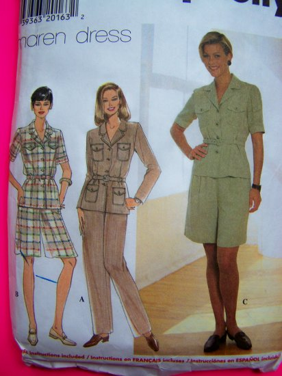 Safari Suit Tunic Top Pants Wide Leg Shorts Shirt Sz 12 14 16 Maren Dress Pattern 7598