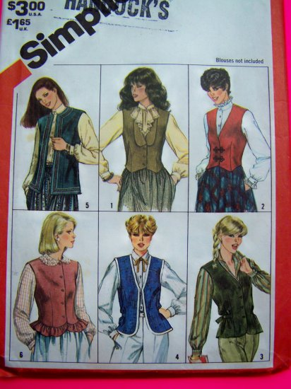 6 Vintage Vest Patterns B 34 V Neck Peplum Ruffle Shaped Straight Hem Sewing 5709