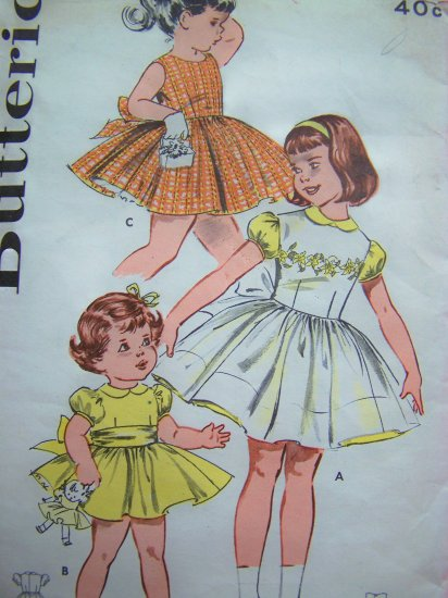 Girls Vintage Dress Pattern Puff Full Skirt Tie Sash Party Frock Sundress Pinafore Sz 1 Sewing 9316