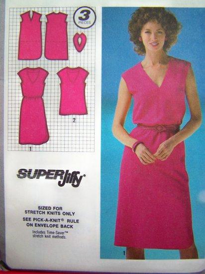 80s Easy Pullover Slim Deep V Neck Dress Left Side Hem Slit Sz 6 8 VIntage Sewing Pattern 9521
