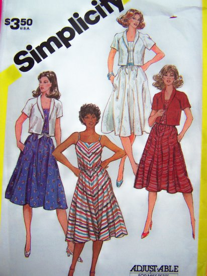 80s Bias SunDress Flared Skirt Sun Dress Elastic Waist Summer Jacket B 34 Sewing Pattern 5845
