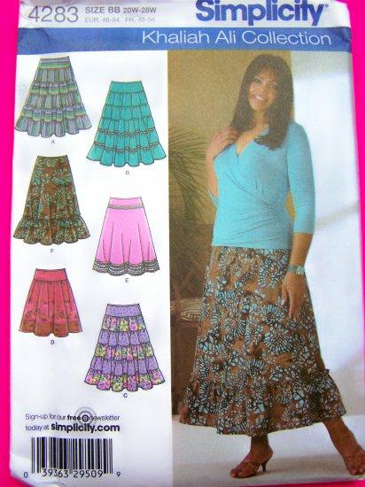Khaliah Ali Peasant Skirts Tiered Ruffled Flared Hem Plus Size Womens  20 22 24 26 28 W Pattern 4283