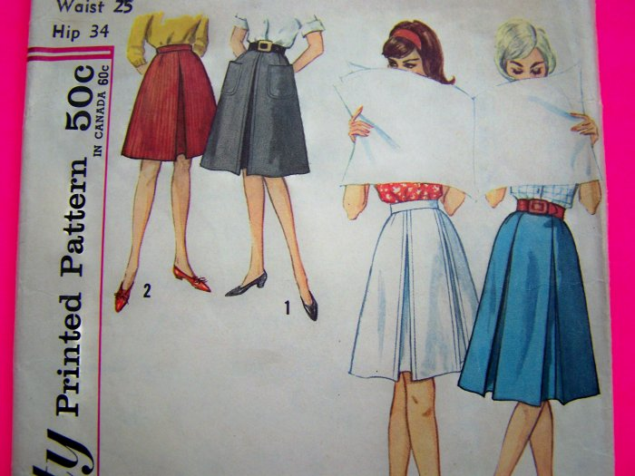 Vintage Sewing Pattern Flare Skirt Inverted Pleat Simplicity Pleated Skirts 4896