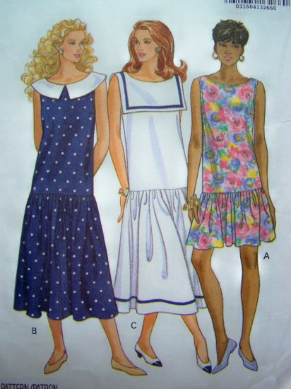 Sleeveless Dress Drop Waist Sailor Collar Sundress Dirndl Skirt Midi Mini Sewing Pattern 6138
