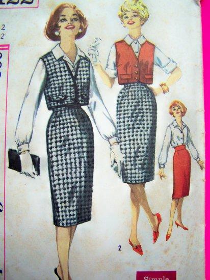 VINTAGE SEWING PATTERN Slim Kick Pleat SKirt Button Up Blouse Mod Sleeveless Vest Jacket 3122