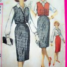 VINTAGE SEWING PATTERN Slim Kick Pleat SKirt Button Up Blouse Mod Sleeveless Vest Jacket 3122