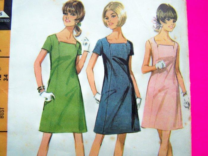 1960's Mod Vintage Dress A Line Panel Seaming Sz 12 B 34 Sewing Pattern 9265 Uncut
