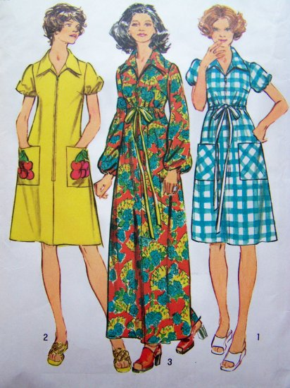 70's ROBE Patio Puff Sleeve Hippie DRESS VINTAGE Lounger Sz 12 B 34 Sewing Pattern 5365