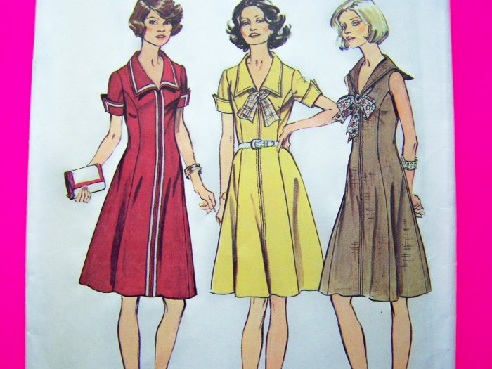 70's Vintage Sewing Pattern Sailor Dress Princess Seamed Sz 10 B 32.5 Waitress Style Uniform 6340
