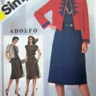 80's Designer Adolfo Slim Dress Jewel Neck Suit Short Princess Bolero Jacket Sz 10 Pattern 5486