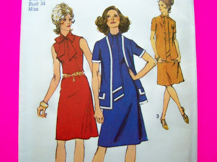 70's Vintage Dress A Line Bias Roll Tie Collar Ascot Cardigan Jacket Sz 12 B 34 Sewing Pattern 9806