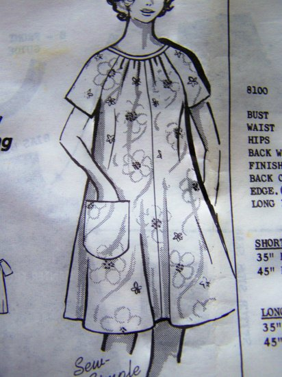 1960s Womens Vintage Dress Caftan Patio Tent Lounger Smock Plus Size B 44 Pattern 8100