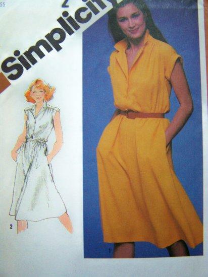 80's Vintage Sewing Pattern Dress Sz 10 Shirtwaist Elastic Waist Turn Back Cap Sleeve Cuff 5122