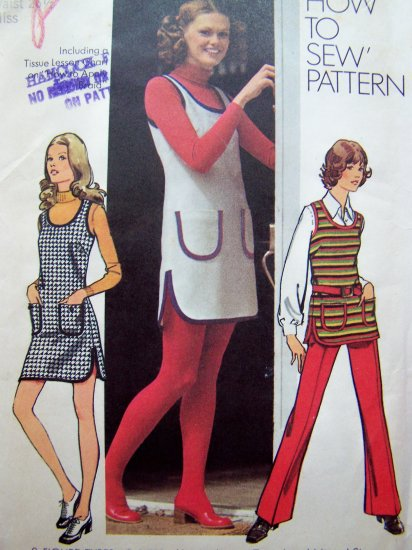 1970's Vintage Mini Jumper Dress Hippie Tunic Top Pants Curved Hem Side Slits Sewing Pattern 5205