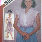 1980s Vintage Pullover Dress Eyelet Top Cap Sleeves 10 12 14 Easy Uncut Sewing Pattern 5882