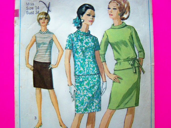 60's Vintage Slim Wiggle Skirt Bias Roll Collar Shirt 2 pc Dress Miss B 34 Sz 14 Sewing Pattern 7164