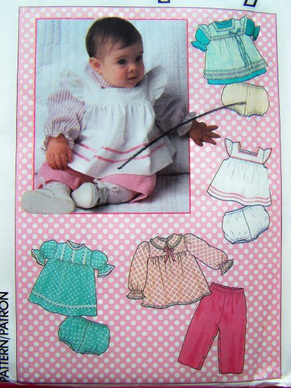 Vintage Infant Girls 12 M Smock Dress Apron Tent Sundress Pants Bloomers Sewing Pattern 7783