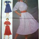 1980's Vintage Sewing Pattern Dress Dolman Sleeves B 32.5 Misses Sz 8 Bias Flared Skirt 6740