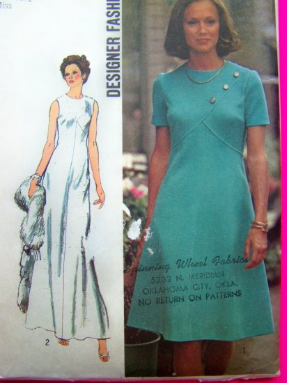 1970's Vintage Dress Empire Shaped Bodice Designer Evening Gown Sz 10 B 32.5 Sewing Pattern 5911