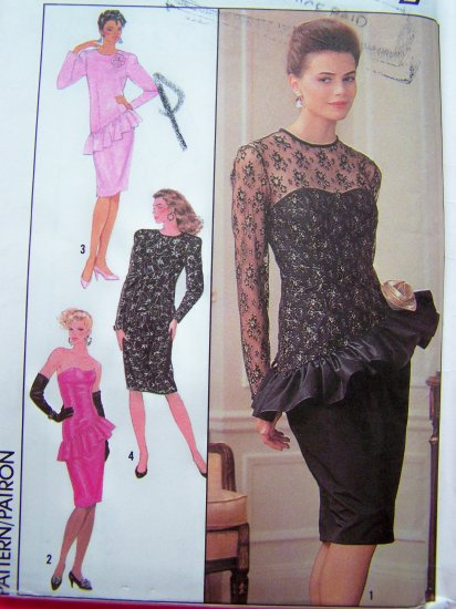80's Cocktail Party Dress Evening Strapless or Round Neck Hip Ruffle 8 10 12 Sewing Pattern 9450