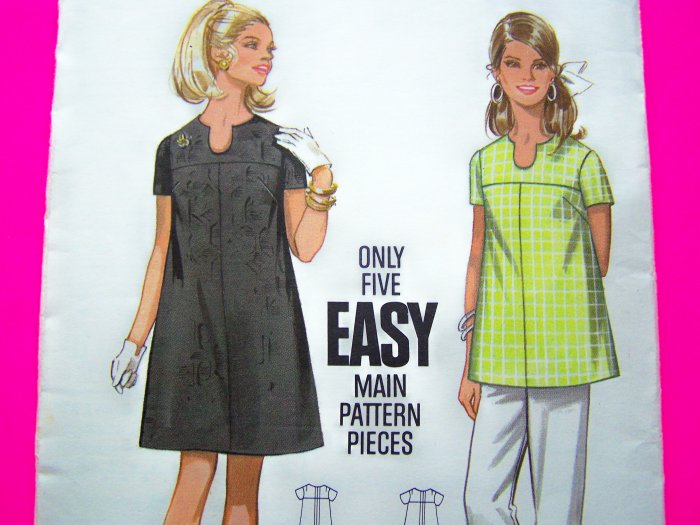 60's Vintage Mod A Line Maternity Dress Shaped Neckline B 34 Smock Top Shirt Sewing Pattern 5253