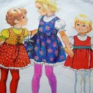 70s Vintage Girls Jumper Dress Lace Sundress Puff Top & Bag Purse Sz 5 6 Sewing Pattern 9684