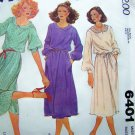 Vintage Sewing Pattern Pullover Dress Blouson Neck Vent B 32.5 Sz 10 Puff Long or 3/4 Sleeves 6401