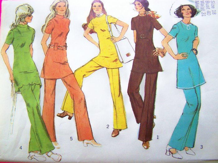 ~ 1970s Vintage Tunic Top Mini Dress Pants Plus Size 18 B 40 Sewing Pattern 9514 Uncut ~