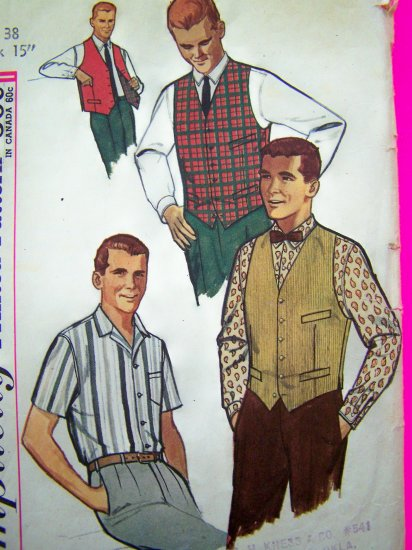 1950's Mens Vintage Dress Shirt Vest & Reversible Vests Sz 38 Neck 15 Sewing Pattern 4160