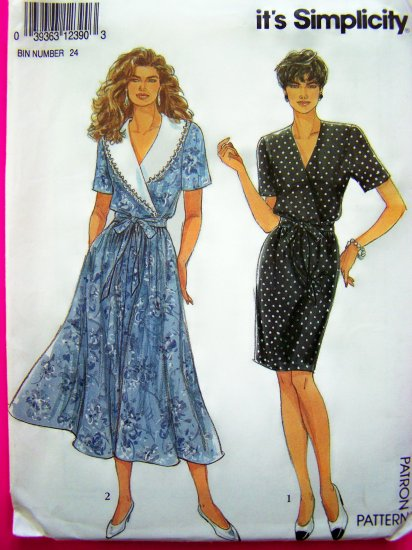 90's Pullover Dress Surplice Bodice Slim Flared 4 Gore Skirt 8 10 12 14 16 18 20 Sewing Pattern 7782