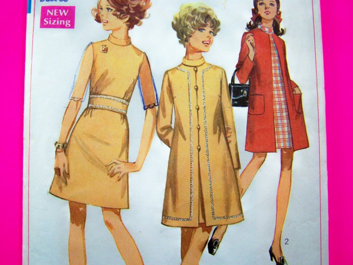 1960's Vintage A Line Sleeveless Dress & Coat B 35 Junior Petite Jrs Mod Sewing Pattern 7999