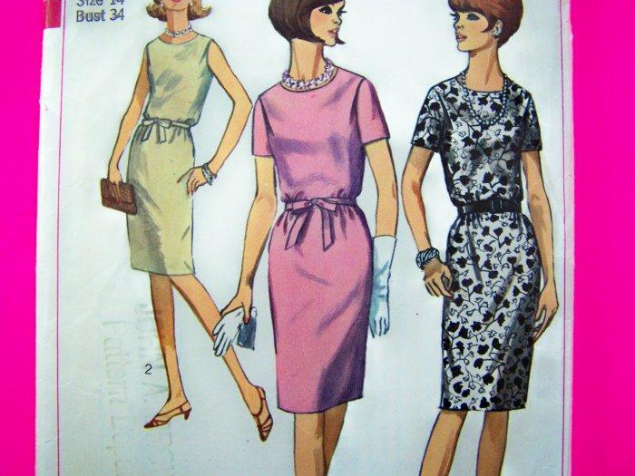 60s Vintage Mod 1 Piece Shirt Dress Blouson Bodice Belt B 34 Sz 14 Sewing Pattern 6458