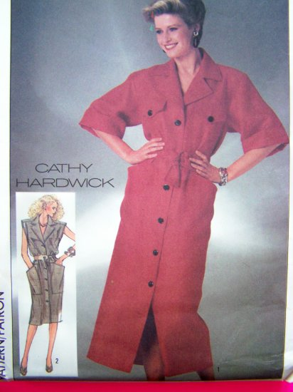 Vintage 80's Dress Button Up Designer Cathy Hardwick Back Yoke Self Belt Bust 34 Sewing Pattern 7369