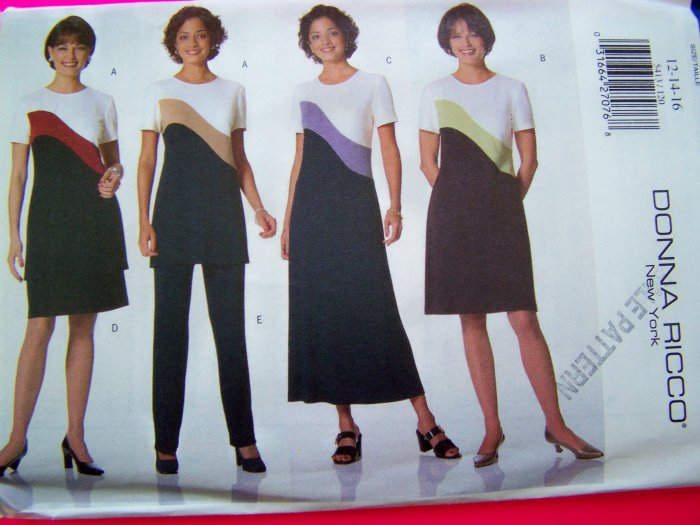 1990's Donna Ricco Designer A Line Pullover Dress Pants Skirt Tunic Top 12 14 16 Sewing Pattern 5413