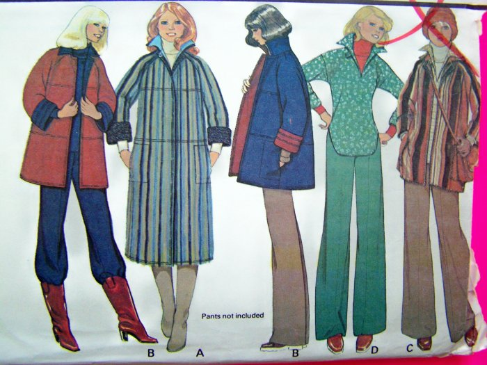 70s Vintage Coat Midi Car Reversible Jacket Tunic Top Hippie Medium Misses 14 16 Sewing Pattern 5805