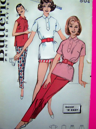50s Vintage Skinny Tapered Pants Short Shorts Polo Tunic Top Sportswear B 32 Sewing Pattern 9377
