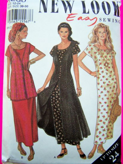 Slit Front Waistcoat Pinafore Tunic Vest & Dress Sz 12 14 16 18 20 22 24 Sewing Pattern 6230