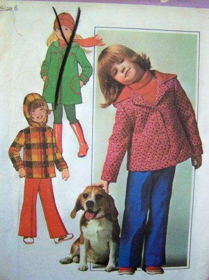 Vintage Sewing Pattern Girls Lined Hoodie Coat Jacket Sz 6 Elastic Waist Pants Uncut Simplicity 7688