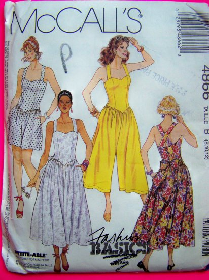 Sundress Jumpsuit Sun Romper Dress Shorts Sweetheart Neckline Misses 8 10 12 Sewing Pattern 4866