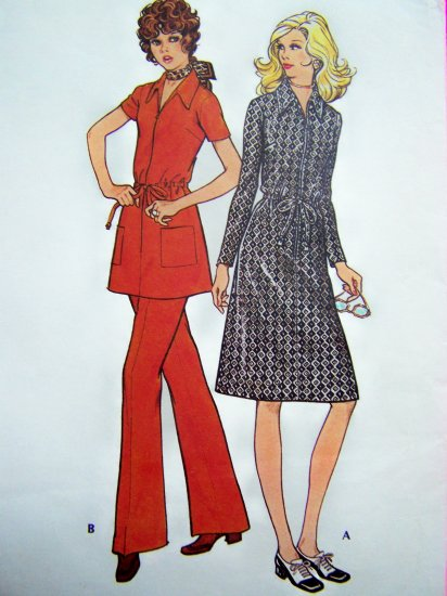1970's Vintage Sewing Pattern Front Zip Dress Tunic Top Shirt Misses B 34 Pants McCall's 2978