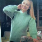 Womens Easy Horizontal Banded Sweater Vintage Knitting Pattern