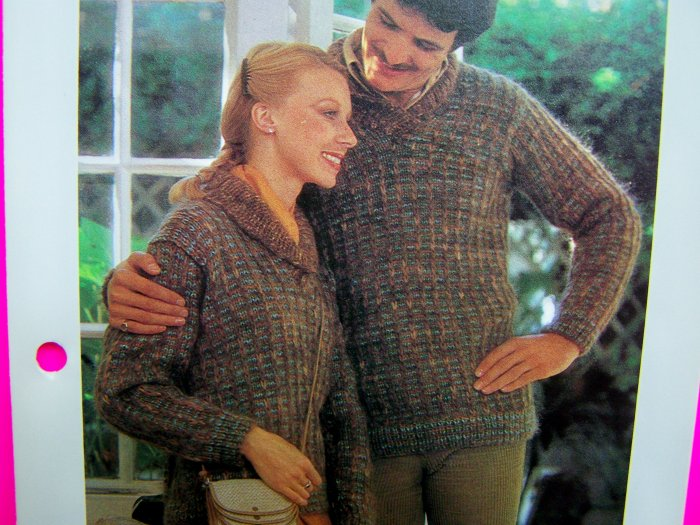 His & Hers Sports Sweaters Mens Misses Vintage Knitting Patterns Quick & Easy