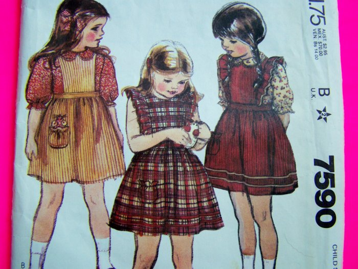 Vintage Toddler Girls Prairie Sundress Apron Dress Shirt Sz 2 T Sewing Pattern 7590