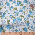 Vintage Cotton Fabric Blue Rose Floral Retro Cottage Roses Material