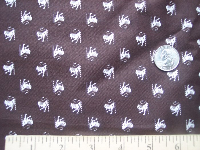 Vintage Fabric Brown & White Lion Statue Print Quilting Sewing Cotton