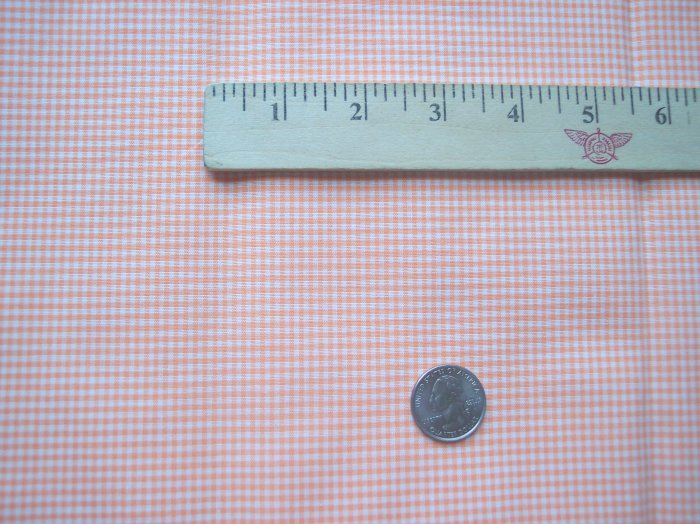 Vintage Fabric Orange Gingham Tiny Checked Cotton 1 Yd Quilt Material