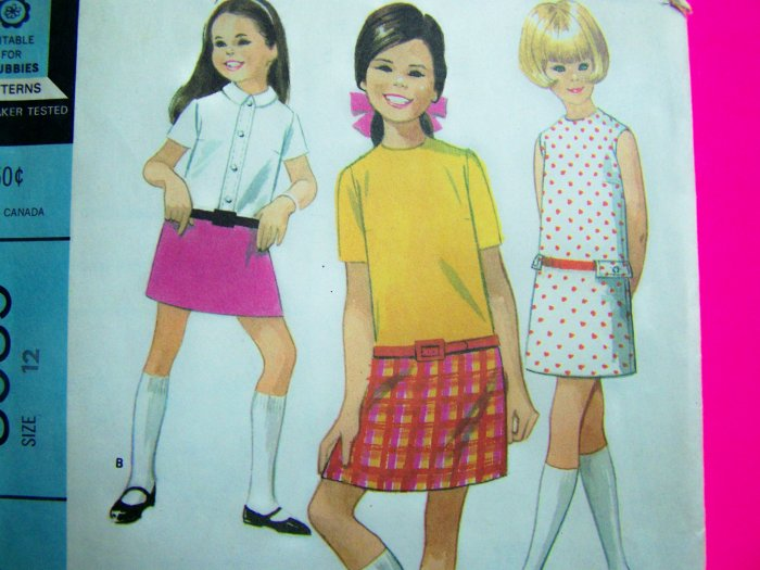 60's Vintage Girls 12 Drop Long Waist Dress Mod Sewing Pattern McCall's 8585