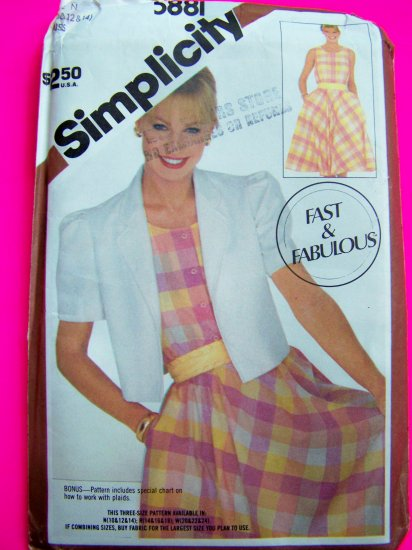 80's Sundress Bias Skirt Dress Bolero Jacket Misses 10 12 14 Fast & Easy Vintage Sewing Pattern 5881