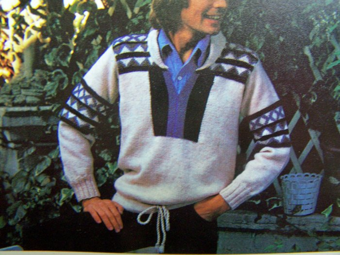 1980's Mens Fairisle Knitted Sweater M L XL Drawstring Hem Vintage Knitting Pattern