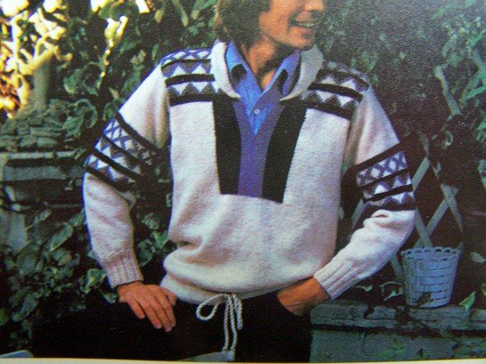 1980's Mens Fairisle Knitted Sweater M L XL Drawstring Hem Vintage Knitting Pattern